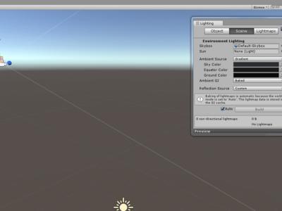 L'écran de configuration dans Unity