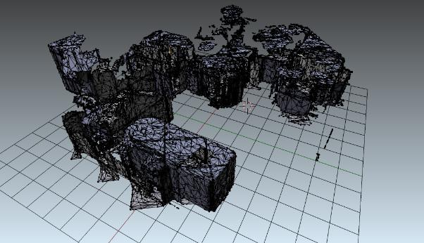 Une forme en 3D sur un quadrillage