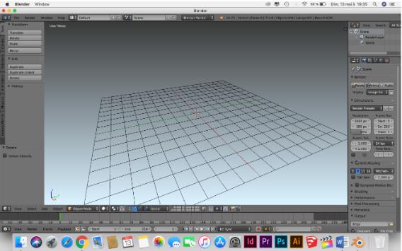 Interface du logiciel Blender