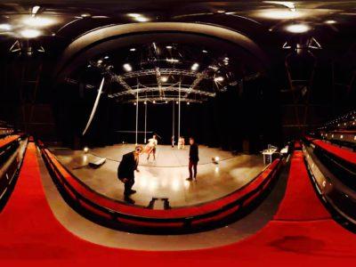 Une vue fish-eye d'un plateau de cirque