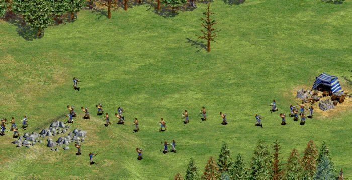 File de travailleurs dans Age of Empires.