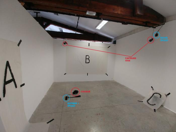 L'espace d'exposition équipé des capteurs de réalité virtuelle