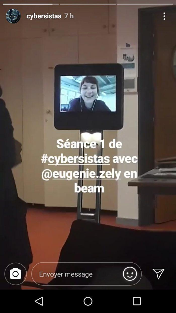 Eugénie Zély apparaît dans l'écran du robot Beam