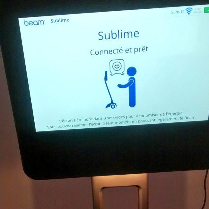 L'écran de connexion du robot Beam connecté et prêt