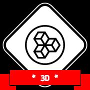 Un badge contenant des formes carrés en 3D