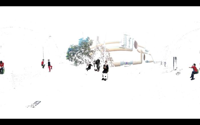 Un espace blanc avec des silhouettes détourées