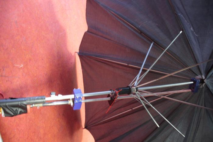 Gros plan dur le manche du parapluie ouvert