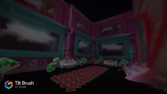 Dans le logiciel Tilt Brush, la vue intérieure d'une maison