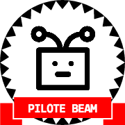 Une tête de robot dans un badge