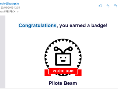 "Capture d'écran d'un e-mail ""Congratulations, you earned a badge!"""