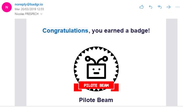 Capture d'écran d'un e-mail