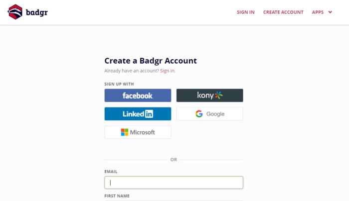 Capture d'écran : se créer un compte sur Badgr