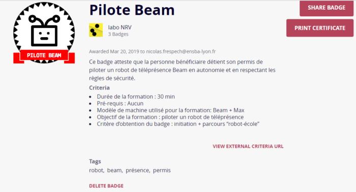 Description du badge