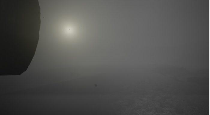 Dans un environnement 3D, un soleil pâle à travers un ciel gris et nuageux