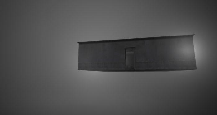 Un appartement flottant dans un ciel gris en environnement 3D
