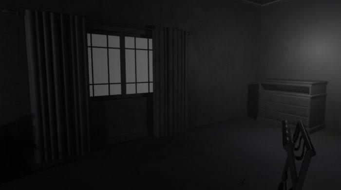 Une pièce sombre en environnement 3D