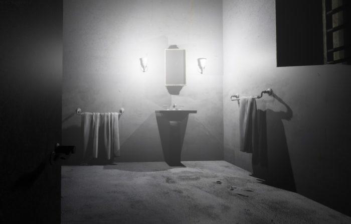 Une chambre grise en environnement 3D