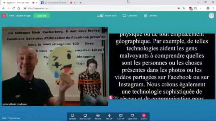 Capture d'écran d'un live Facebook