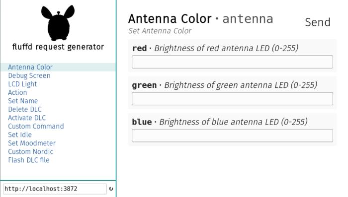 Une capture d'écran d'interface permettant de contrôler la couleur de l'antenne du Furby