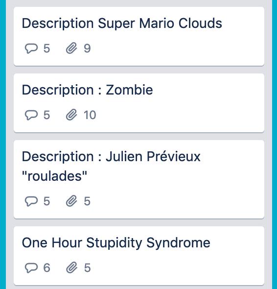 Capture d'écran d'une liste de descriptions d'oeuvres sur Trello
