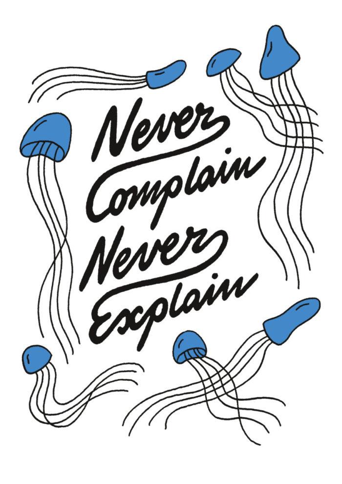 Des méduses s'agitent autour du titre Never Complain Never Explain